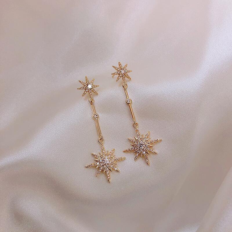 塔蘭璀璨星光S925銀針耳環2019新款潮輕奢微鑲鑽氣質長款耳墜飾品A28