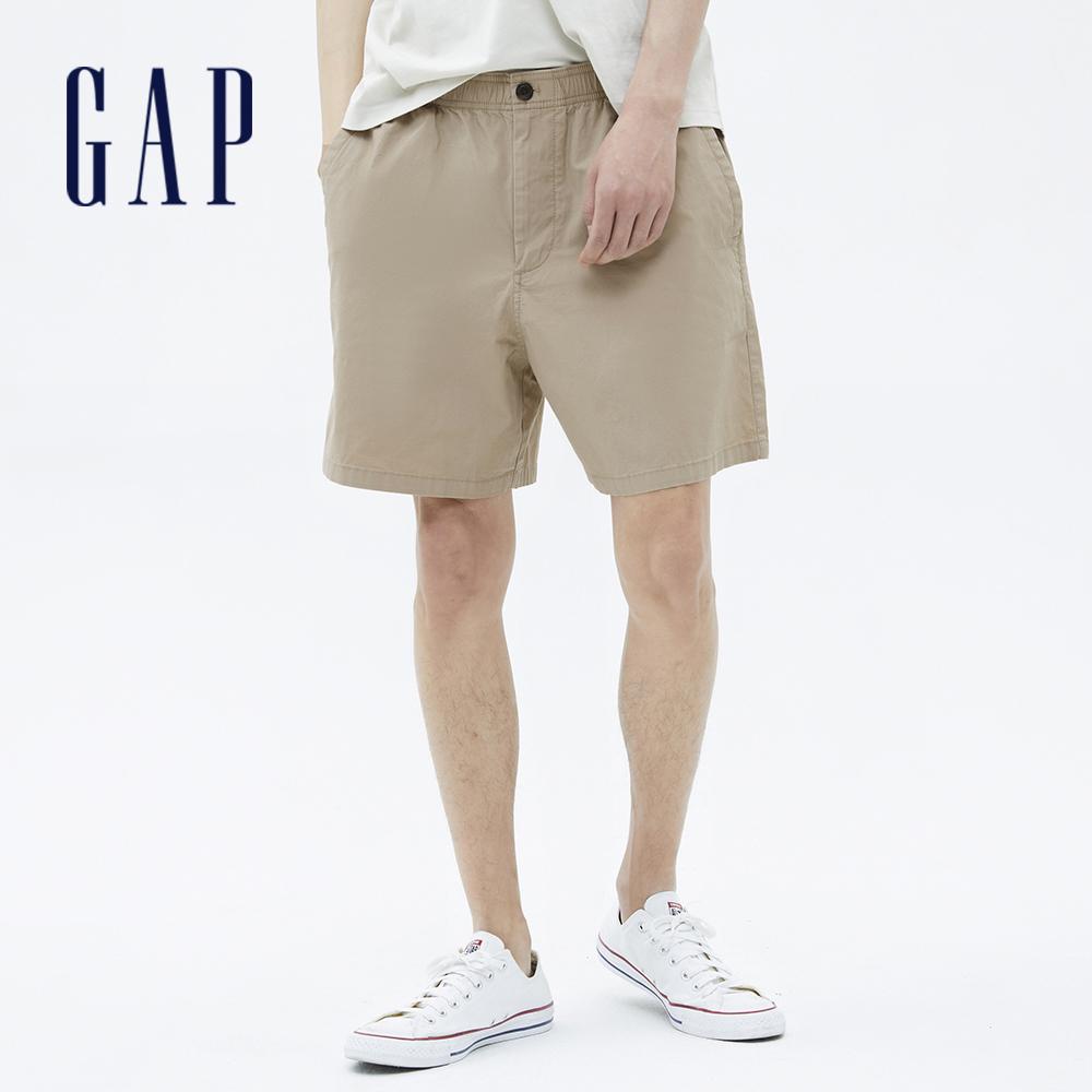 Gap 男裝 素色棉質鬆緊休閒短褲 701282-卡其色