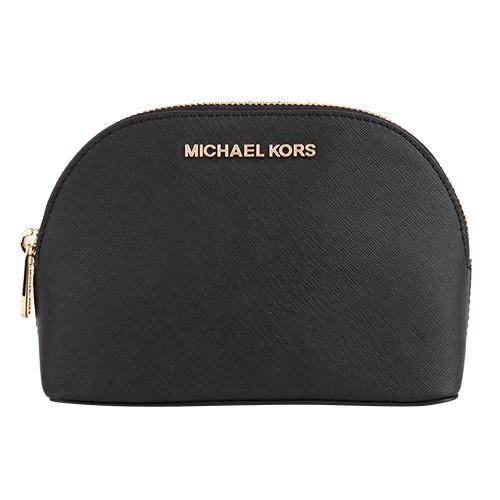 MICHAEL KORS- BLACK 金字LOGO防刮拉鍊貝殼化妝包(黑)小
