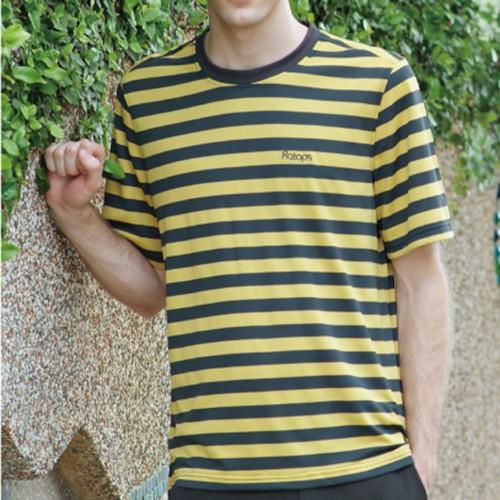 【RATOPS 瑞多仕】 男 COOLMAX排汗衣 DB8159深灰黑/芥末黃條色吸濕排汗/快乾抗紫外線/野雁戶外