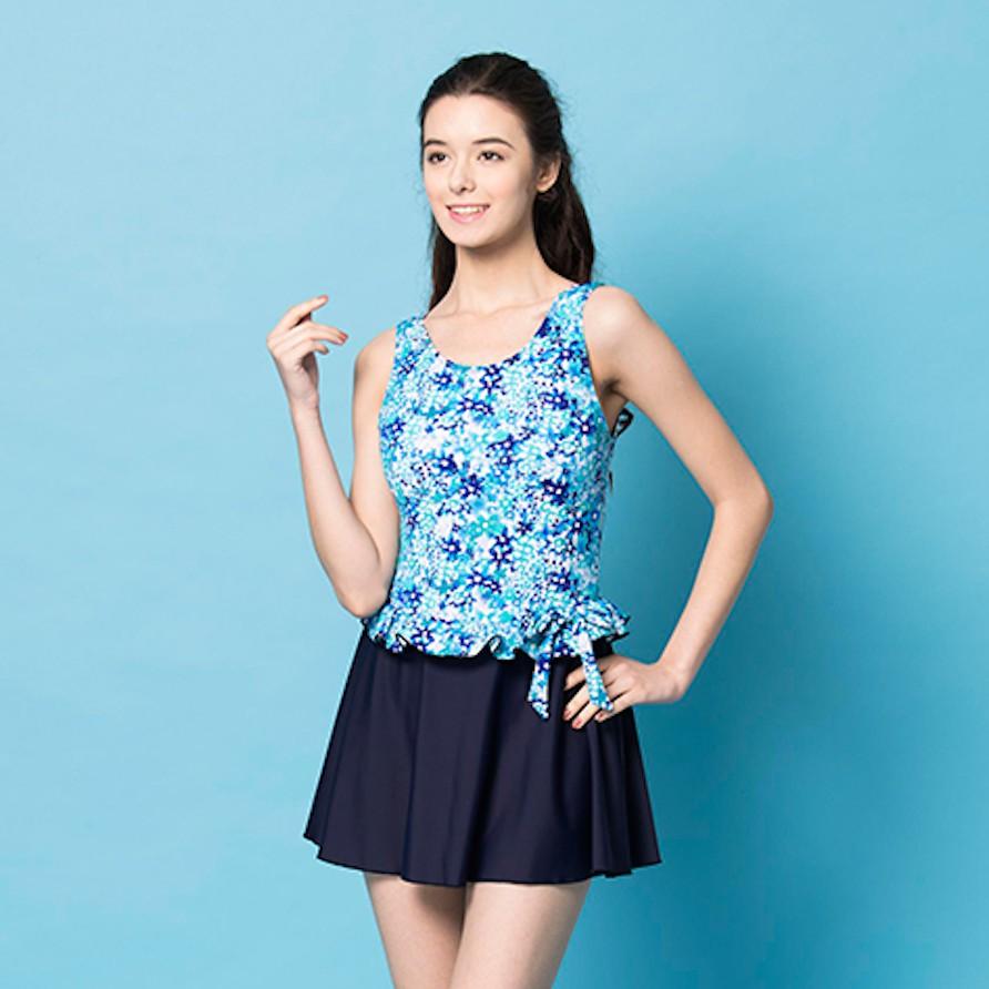 MIT 泡湯戲水SPA-少女連身裙泳裝
