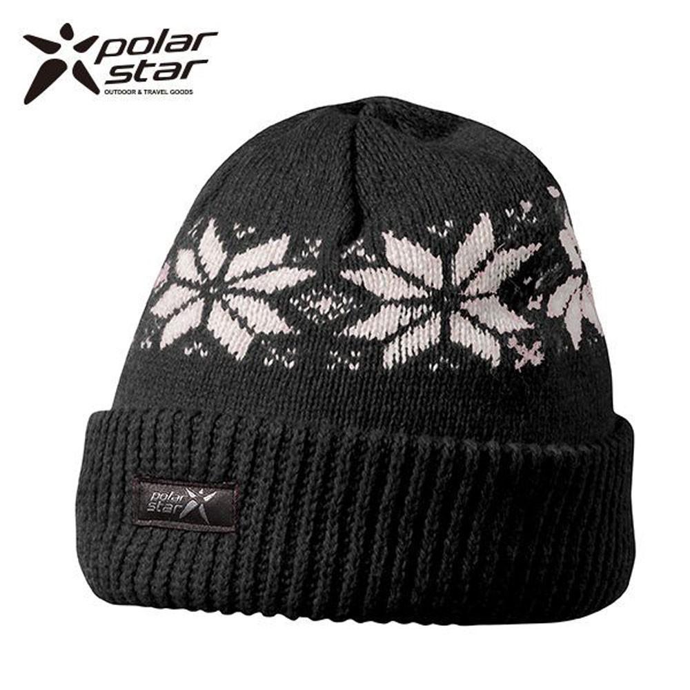 PolarStar 台灣製 反摺橫條羊毛保暖帽(內襯刷毛布,降低刺癢感) P13606『黑』