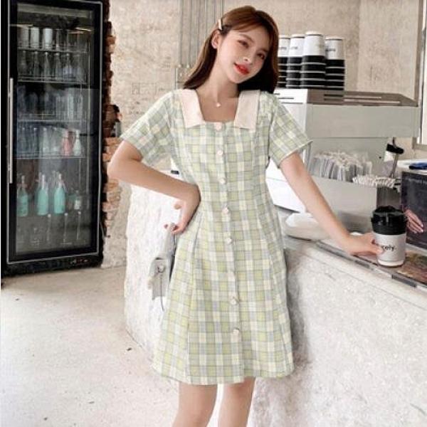 洋裝 格子裙 甜美 中大尺碼 M-4XL新款小個子大碼顯瘦格子娃娃領潮寬鬆連身裙3F042A-706.皇潮天下