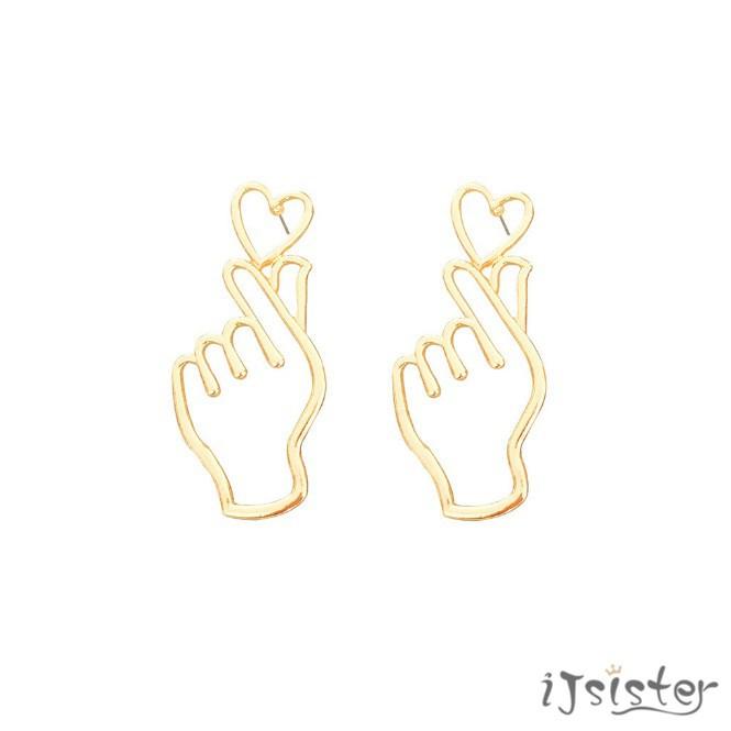 手比愛心 韓國 可愛 愛心 空手比愛心 搞怪 鏤空 金色 銀色 耳針 耳夾 耳環
