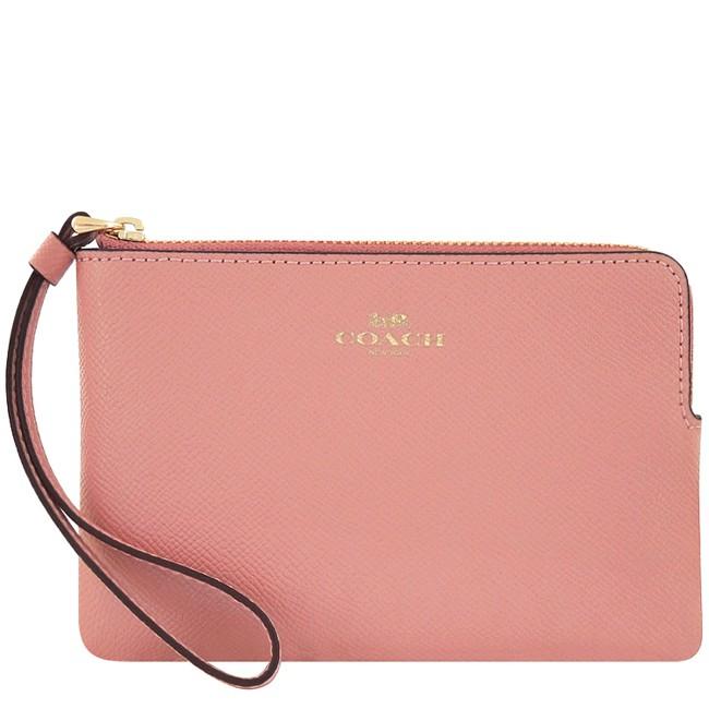 COACH 粉紅色防刮皮革手拿包 廠商直送