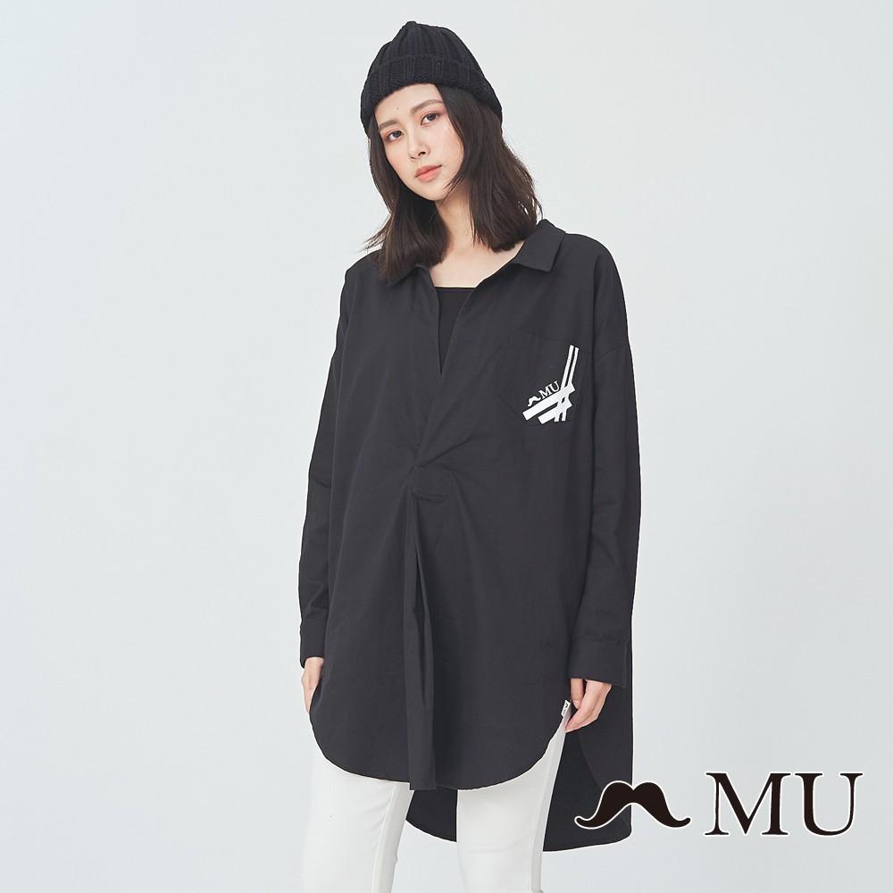 MU (99)裝飾口袋前短後長顯瘦上衣(黑色)