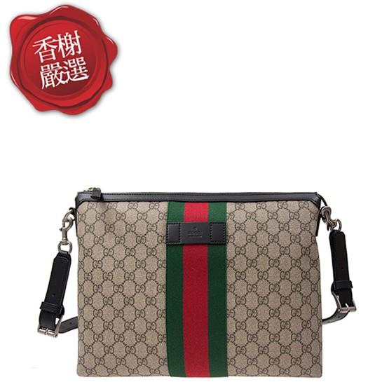 GUCCI 綠紅綠織帶PVC方形斜背包/GM 3335  全新商品