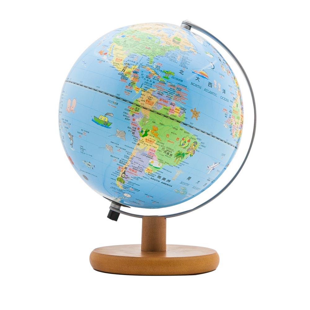 【SKYGLOBE】 10吋可愛插圖木質底座地球儀(附燈/中文版)《泡泡生活》