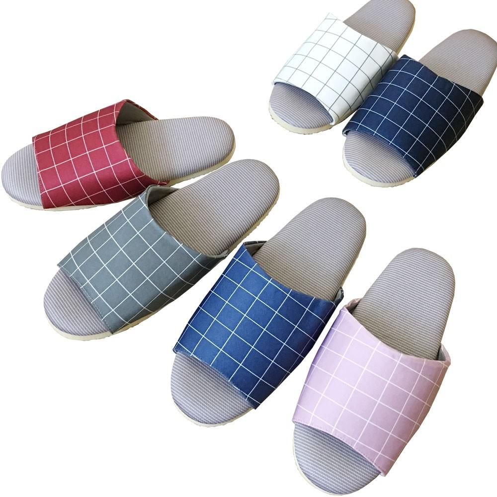 【iSlippers】療癒系-吸濕排汗-舒活室內拖鞋 /方格 [台灣犀利趴] 4雙$360