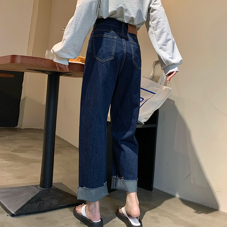 復古 牛仔長褲 直筒褲 寬褲 女生長褲 百搭 素色 高腰 顯瘦 直筒 深色  牛仔 長褲