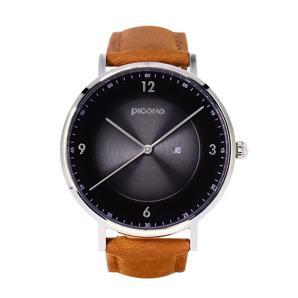 PICONO VINYL系列瘋馬真皮手錶 黑色銀殼 / VL-6603