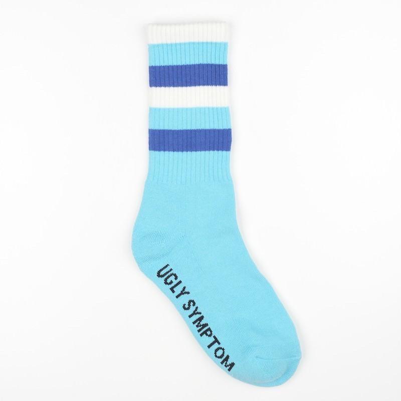Ugly Symptom Socks 復古 條紋襪  中筒襪  水色