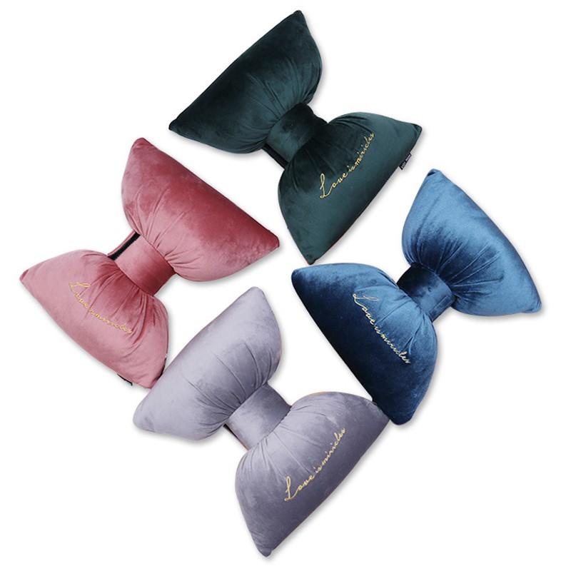 汽車用品四季通用蝴蝶結可愛毛絨內飾座椅刺繡護頸枕靠枕車載頭枕