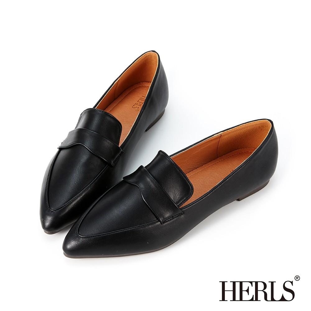 HERLS樂福鞋 簡約橫帶造型尖頭平底樂福鞋 黑色