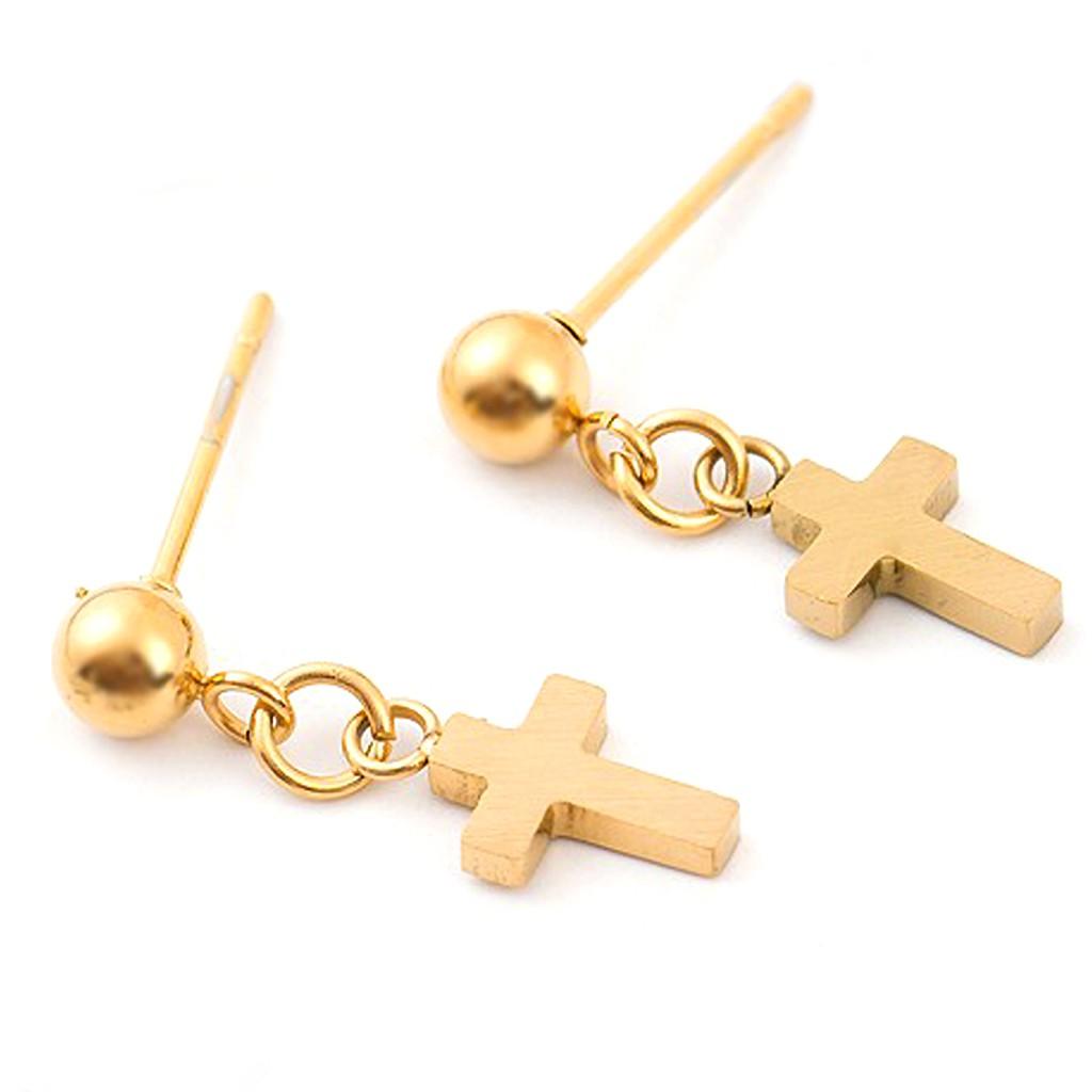 十字架圓球耳針 耳環 鈦鋼抗過敏 耳骨釘耳釘 中性款 艾豆『B3215』