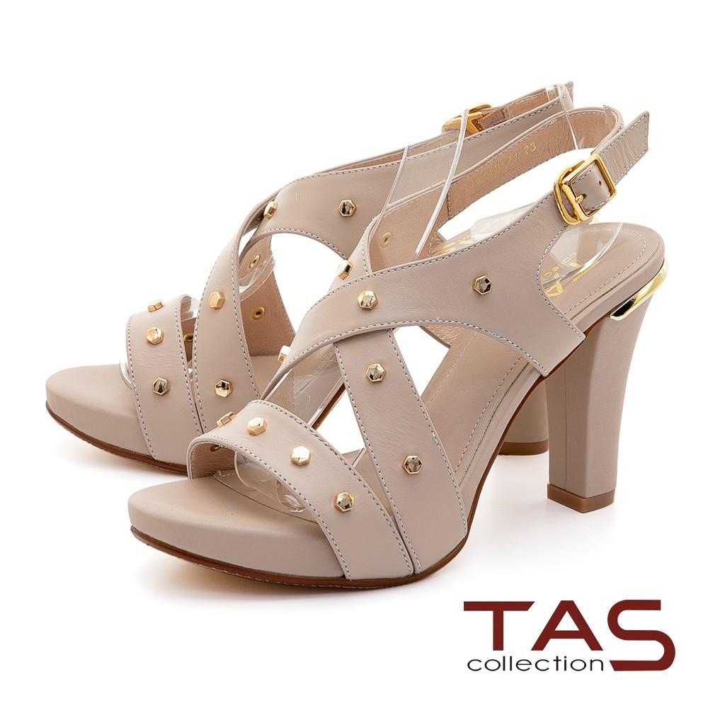 TAS 素面交叉鉚釘繞踝鏤空高跟涼鞋-質感膚