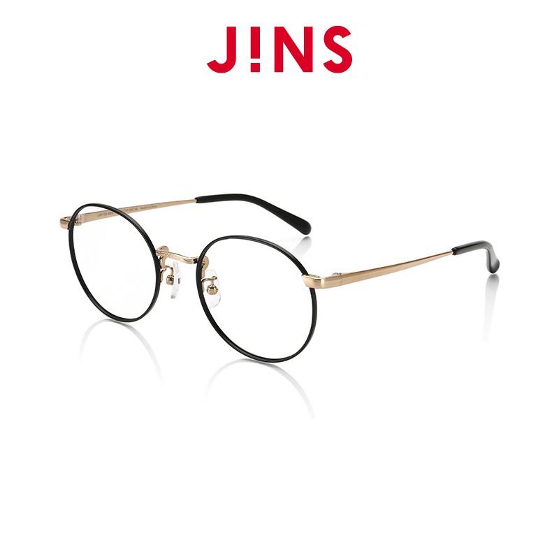 【JINS】 Classic Slim 雕花金屬細框眼鏡(ALMF15A309)黑金色