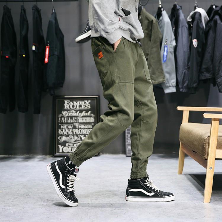 小二布屋-縮口褲 素面大尺碼棉褲運動休閒褲【NZ75939】