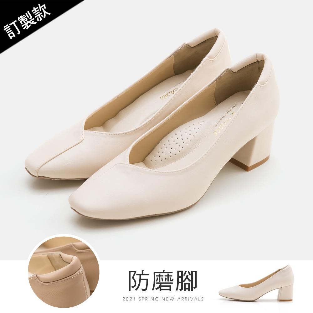 FMSHOES 訂製款-荷葉邊小方頭防磨腳高跟鞋(杏)-大尺碼-20008060