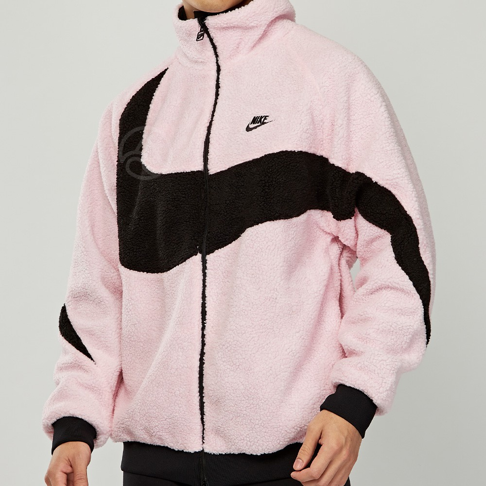 Nike AS NSW Swsh Full Zip 男款 粉黑 大勾 毛絨 雙面穿 外套 BQ6546-601
