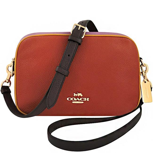 COACH 夕陽紅色荔枝紋皮革撞色拼接雙層斜背包-大型 廠商直送