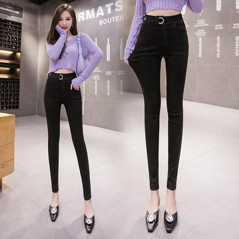 S-5XL大尺碼衣著 2020秋新款高腰彈力顯瘦窄管褲百搭網紅束腹仿牛仔鉛筆褲女