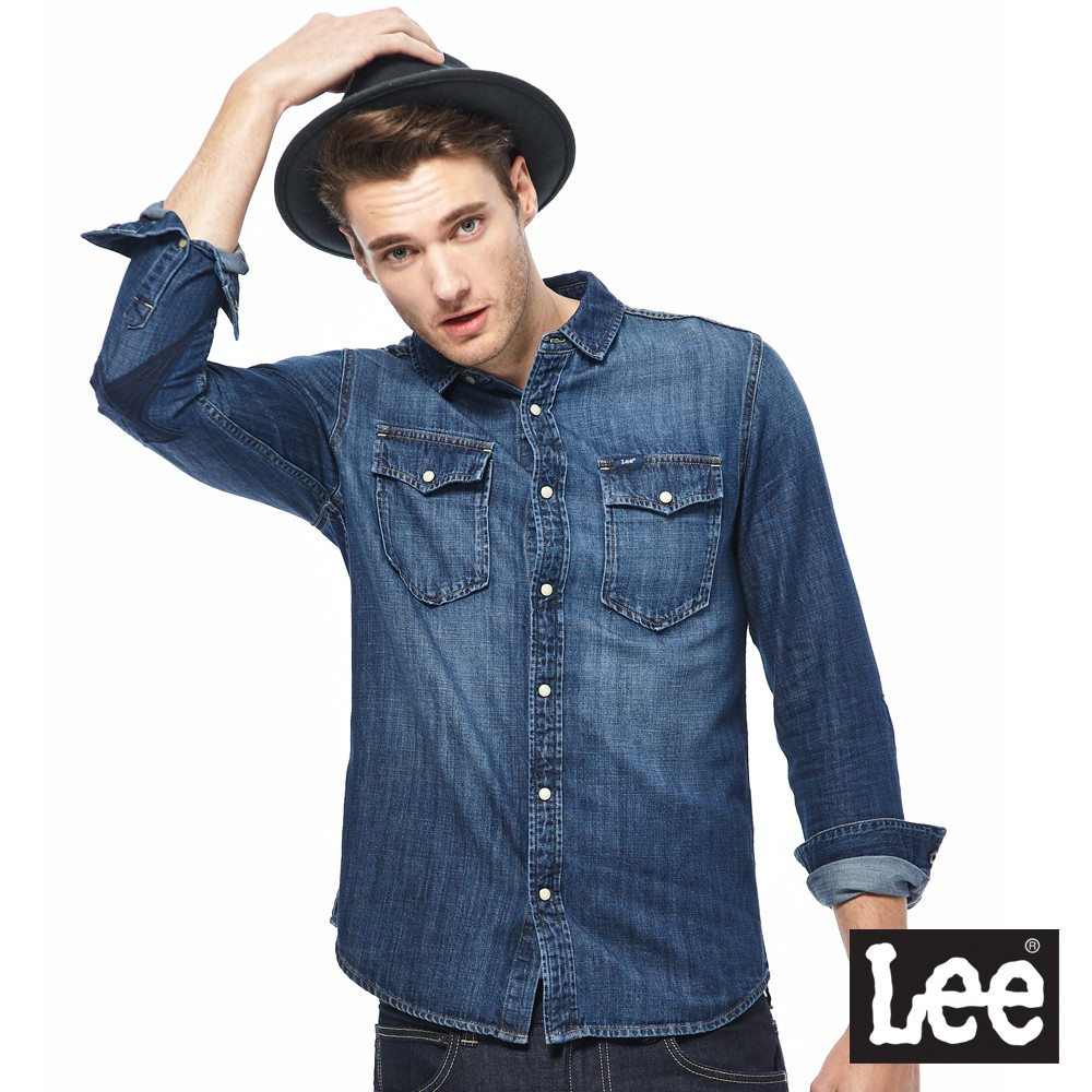 Lee 牛仔長袖襯衫 男 藍