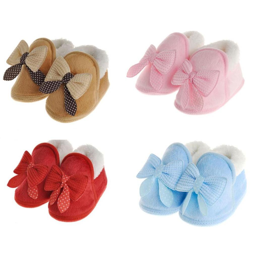 嬰兒鞋 公主鞋 男女寶寶 蝴蝶結 娃娃鞋 秋冬 保暖 學步鞋 初生兒 棉鞋 粉 藍 卡其 紅 四色