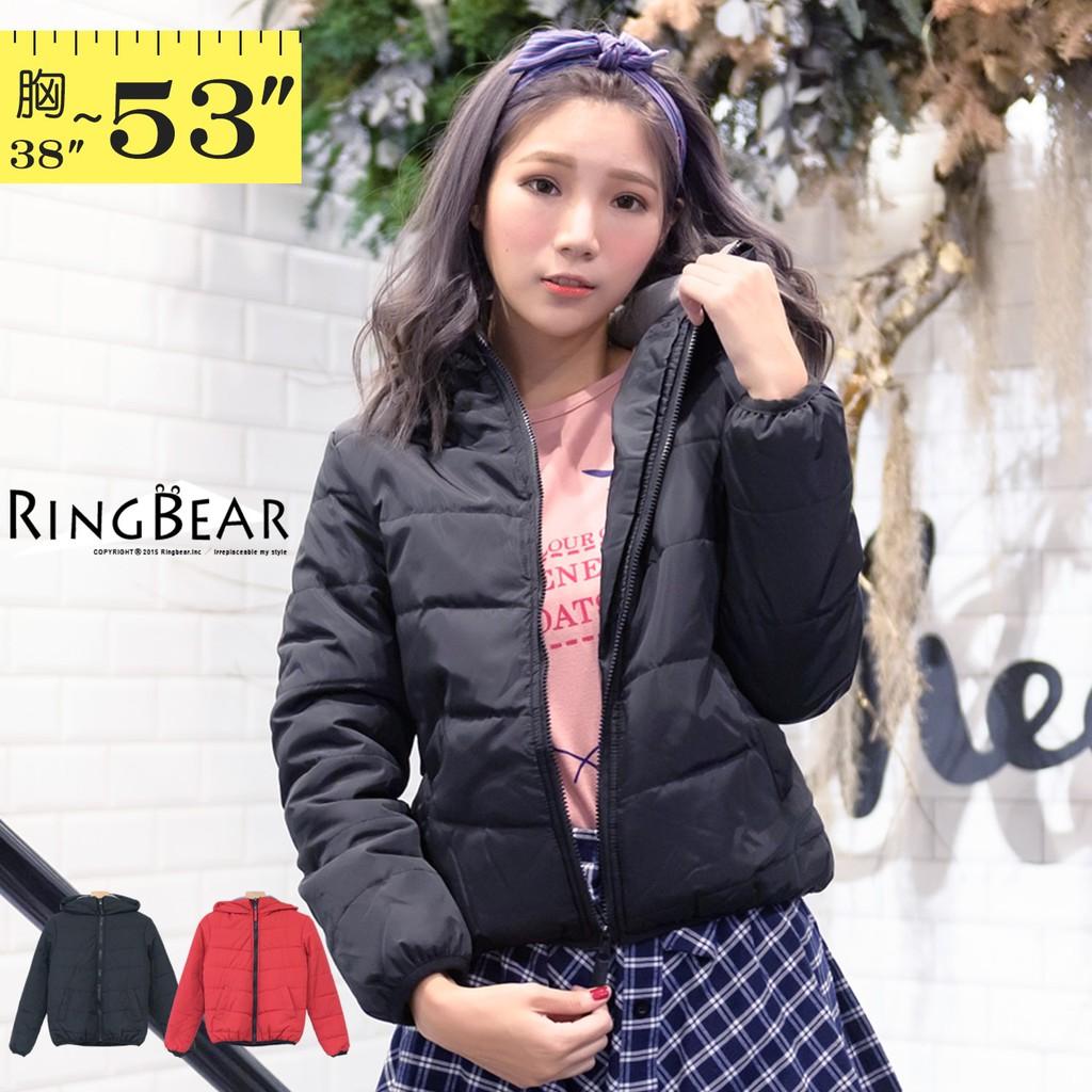 眼圈熊 中大尺碼 俐落保暖禦寒防風立領連帽雙口袋合身款鋪棉外套(黑.紅XL-5L)-J306