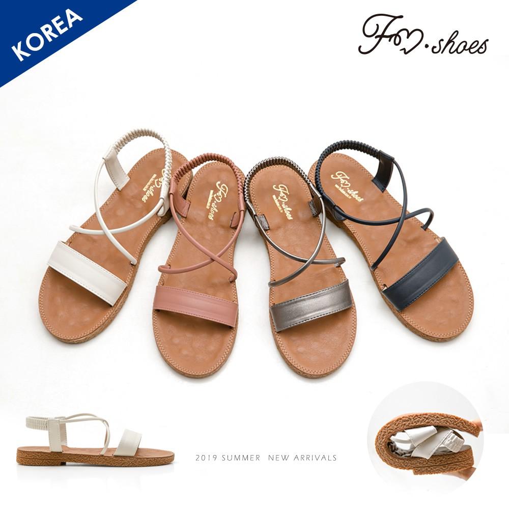 FMSHOES 韓-一字彈性踝帶按摩墊涼鞋﹝粉、灰﹞-大尺碼-00007420