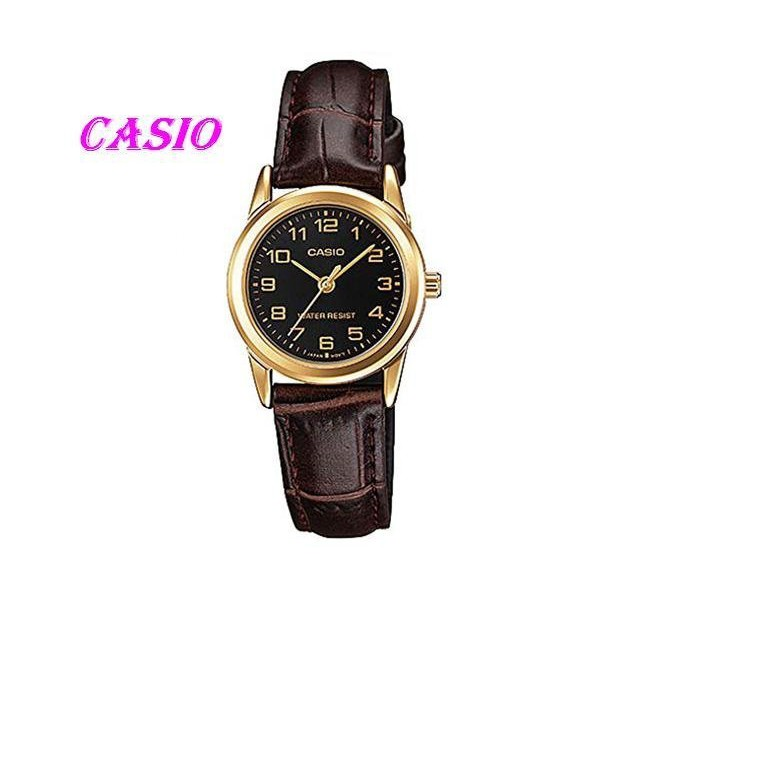 CASIO簡潔大方的三針-時分秒針設計LTP-V001GL-1B MTP-1275G -9A 女錶 石英錶 皮革錶帶