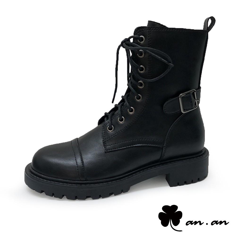 【an.an】短靴 率性街頭釦環繫帶軍靴(黑)【18-B801-2bk】【現+預】