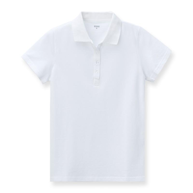 【ERSS】純棉素色短袖POLO衫 - 女 米白 K70031