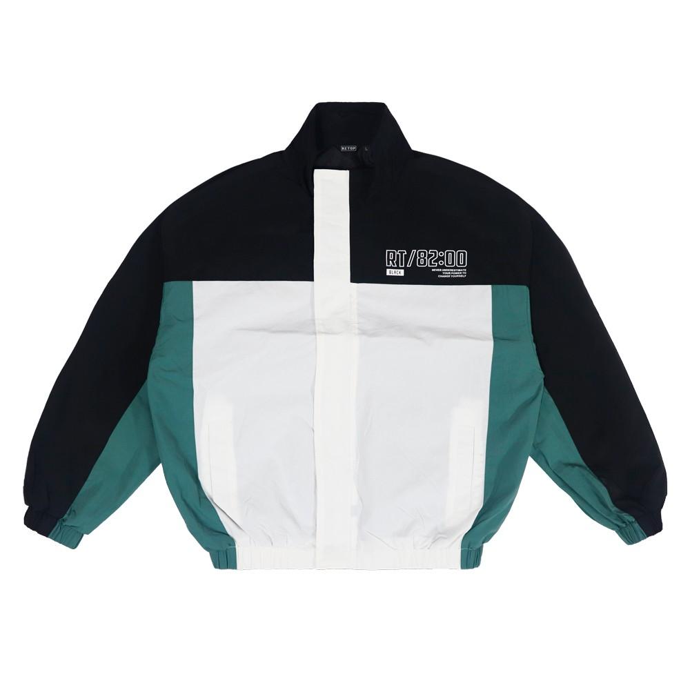 【RETOP】街頭拼接寬版防潑水風衣 白 男女款 潮流 外套 SM201567-01