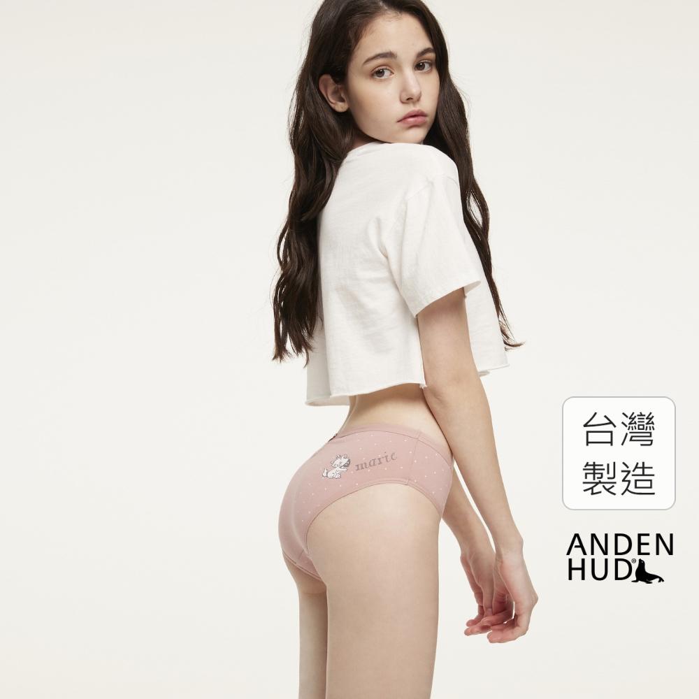 【Anden Hud】迪士尼粉紅季.後挖洞蝴蝶結中腰三角內褲(粉點點-瑪莉貓吐舌頭) 台灣製