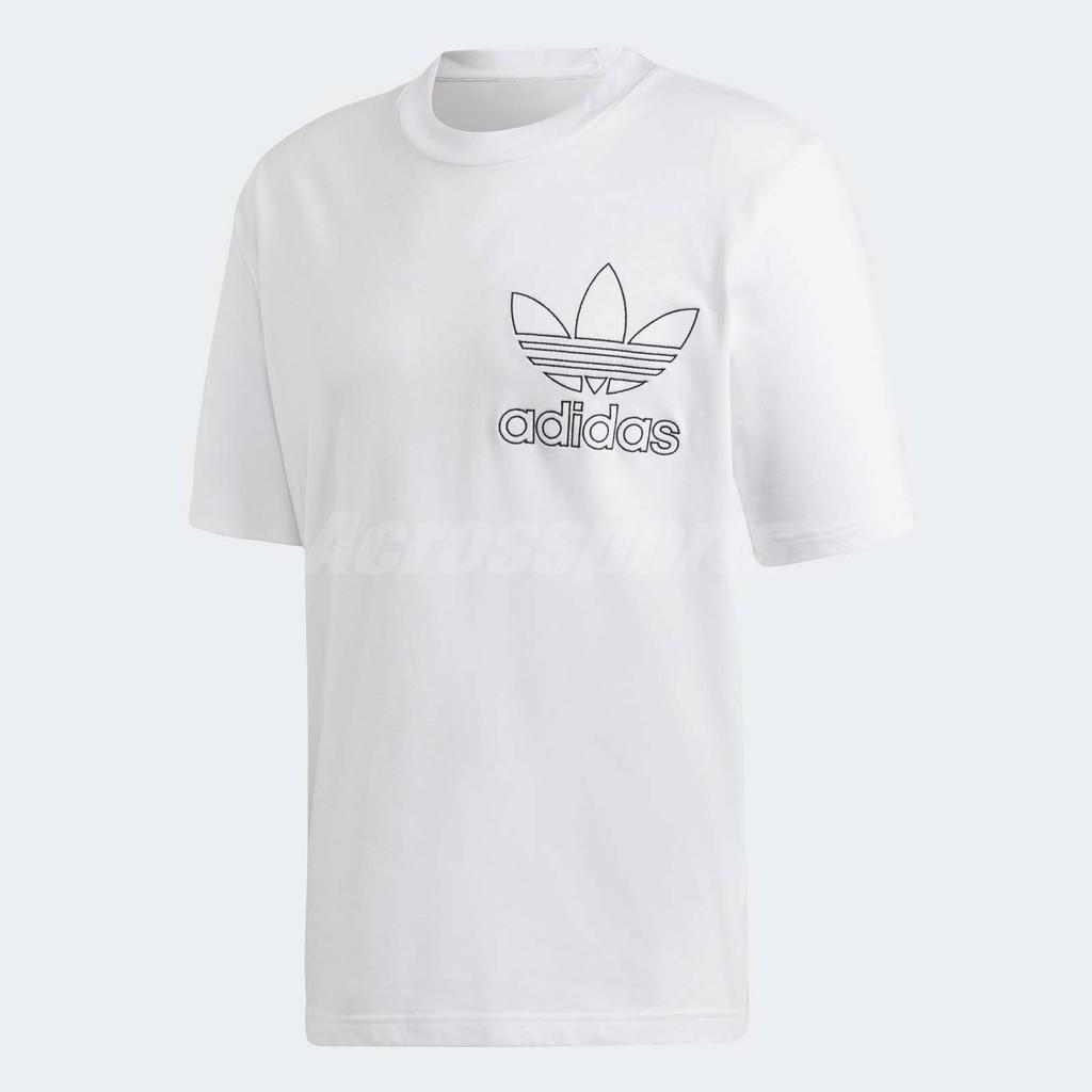 adidas 短袖T恤 Originals Outline Tee 男款 白 黑 三葉草【ACS】 DV1562
