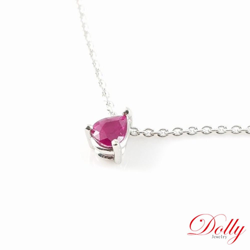 Dolly 天然水滴紅寶石 白K金鎖骨鍊