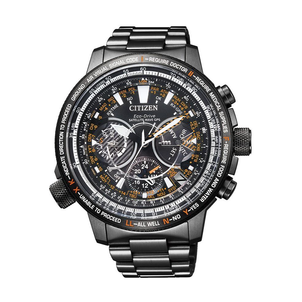 CITIZEN星辰 CC7015-55E 光動能GPS衛星對時碼錶計時飛行腕錶