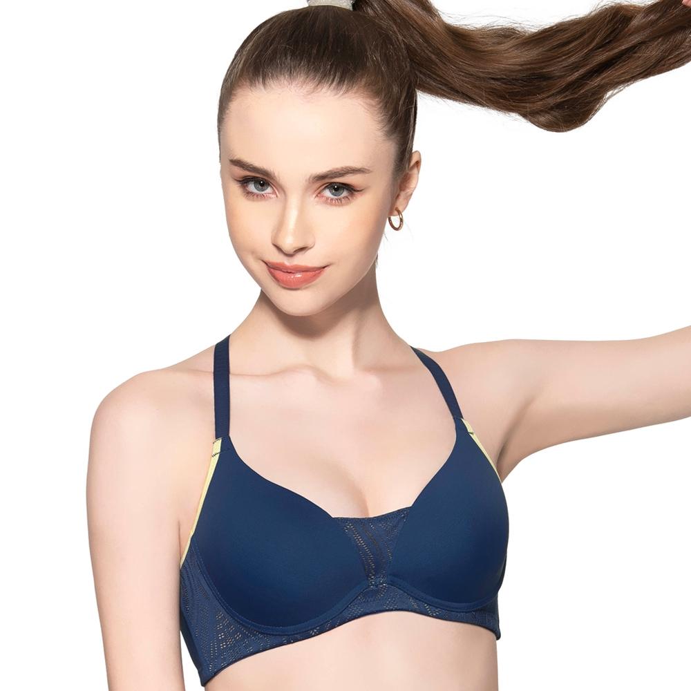 SWEAR 思薇爾 時尚律動系列B-E罩軟鋼圈運動內衣(星光藍)