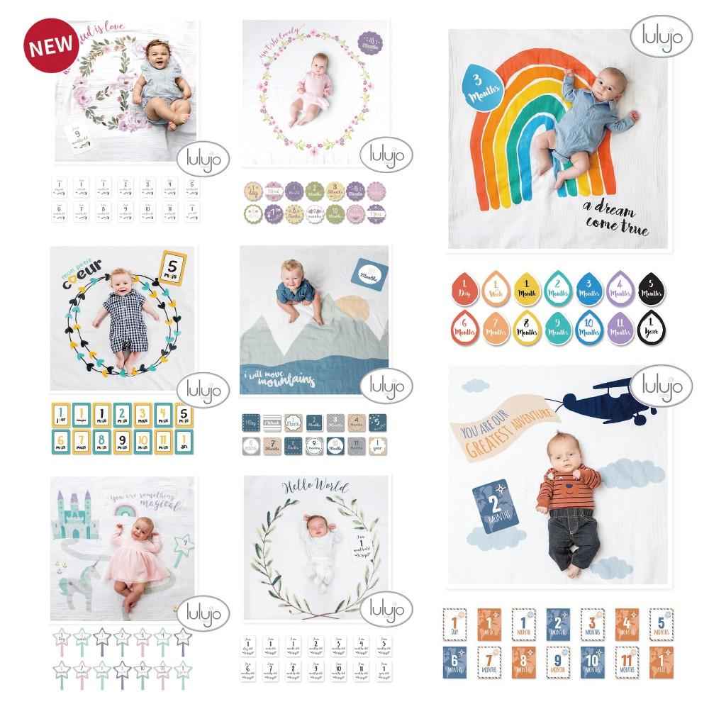 加拿大 lulujo 寶寶 成長 純棉包巾 卡片 (多款可選)