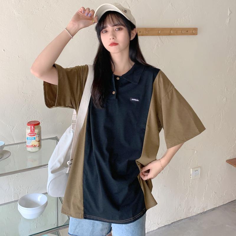簡約短袖t恤女 撞色Polo衫寬鬆顯瘦打底衫 韓版時尚原宿bf風個性減齡ins潮夏季洋氣百搭套頭上衣