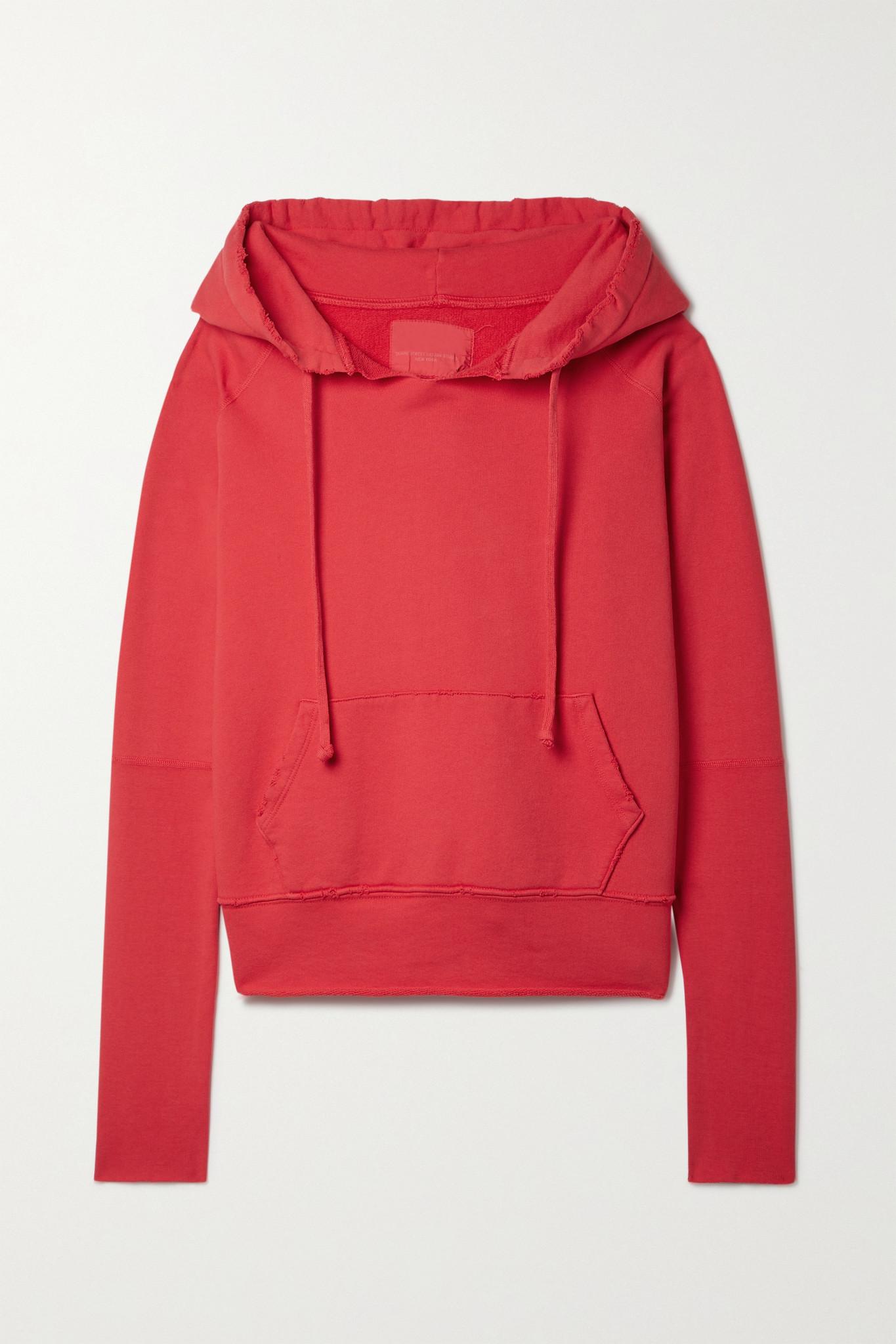 NILI LOTAN - Janie Distressed Cotton-jersey Hoodie - Red - x small