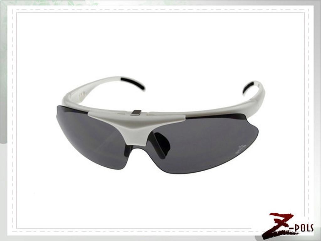 【Z-POLS三代進化式可掀款 】強化型珍珠白多功能抗UV頂級運動眼鏡,加碼贈偏光鏡