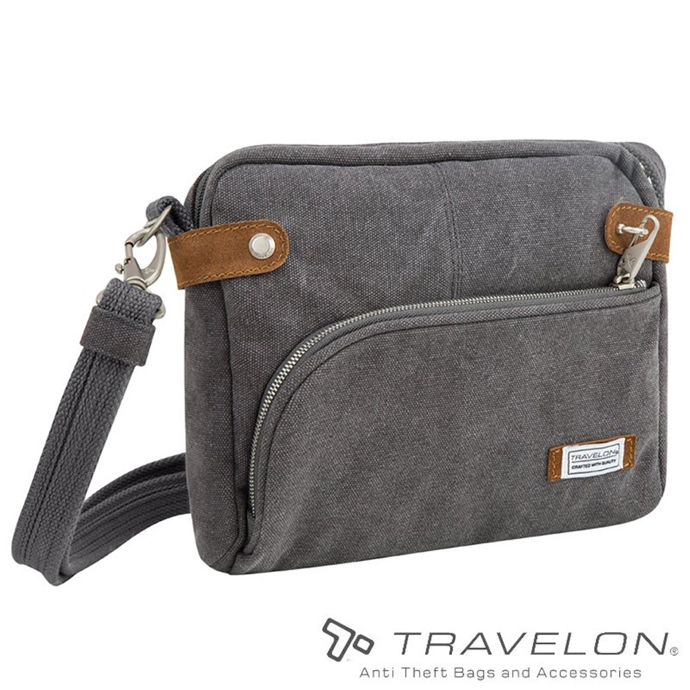 【Travelon 美國】防盜復古側肩包『灰色』TL-33071