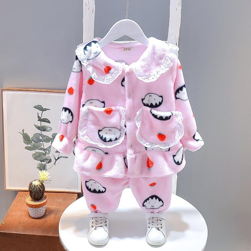 兒童法蘭絨睡衣套裝 秋冬季新款 女童寶寶可愛卡通保暖長袖家居服兩件套