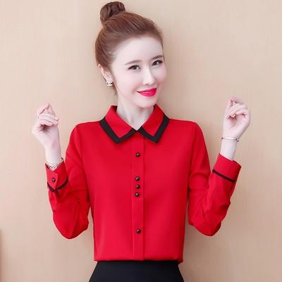 長袖襯衫韓版女洋氣雪紡衫修身襯衣百搭長袖氣質打底襯衫上衣N120