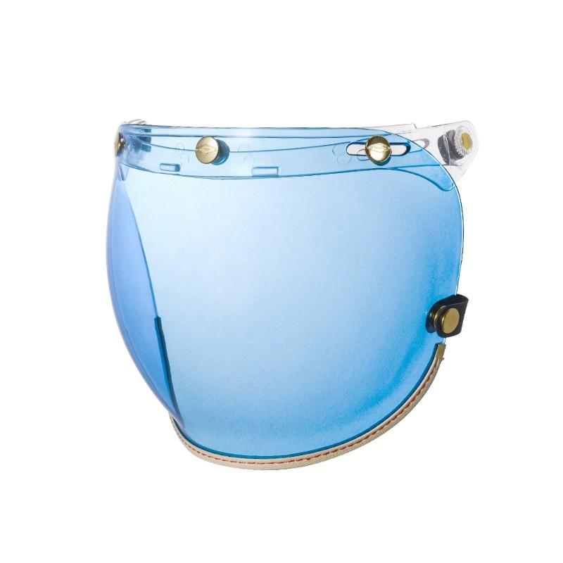 Feture Helmet 飛喬 乳白皮革TOP_PP釦式風鏡 - 藍色泡泡鏡
