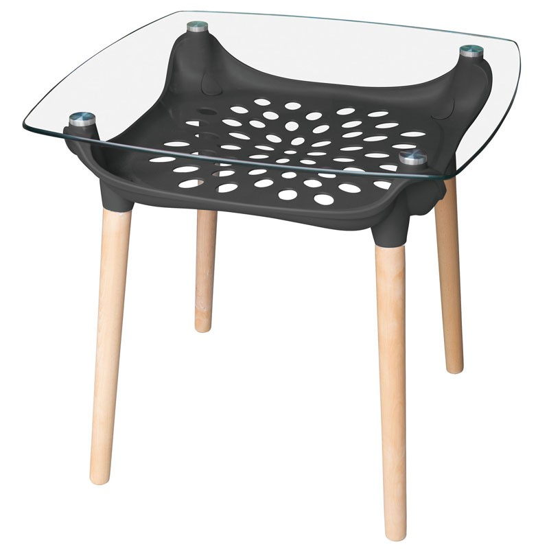 【C1961-03】塑鋼造型雷射玻璃實木方桌(132-1)(黑)(12m/m強化玻璃)