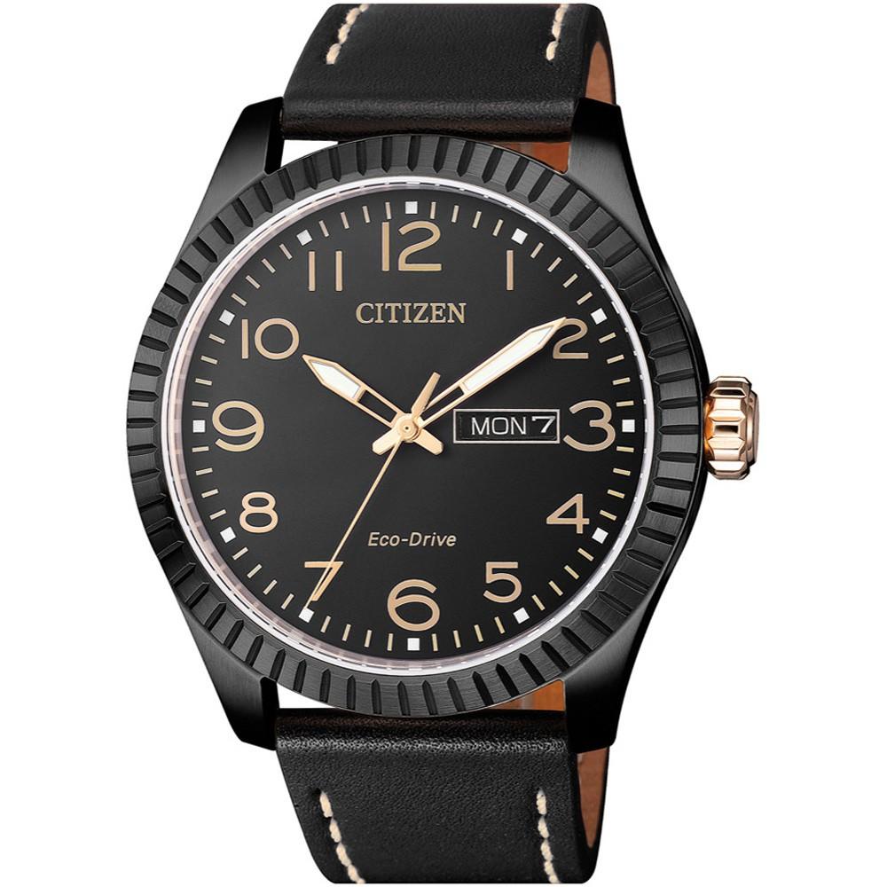 CITIZEN 星辰錶 GENT'S 光動能皮帶男錶-黑色/42mm(BM8538-10E)