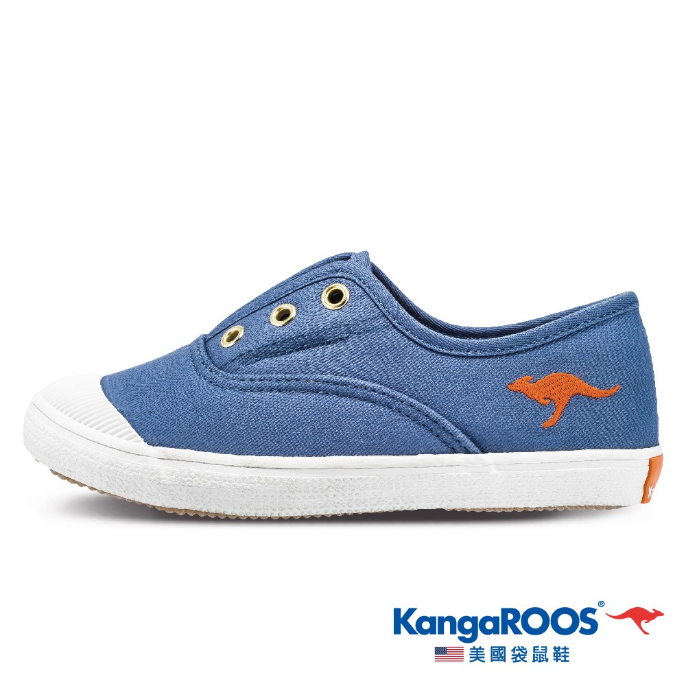 【KangaROOS 美國袋鼠鞋】童鞋 MOCHA 輕量馬卡龍帆布鞋 (灰藍-KK11876)